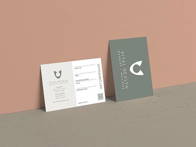 Vital Health Rebrand Print Materials print design logodesign marketing branding massage logo business card gift card gift certifiate massage spa wellness illustrator print media