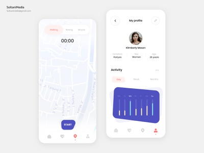 health tracker App |  UI Design SoltaniMedia health tracker app uiux web application website minimalist ui ux minimal sketch