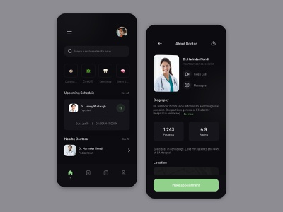 Medical Mobile App minimalist design dashboard dark mode app application ui ux website minimal sketch
