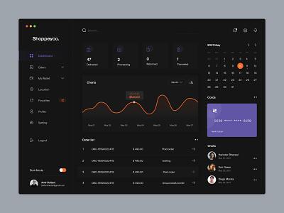 Dark mode Online Shop Dashboard application dashboard app design minimalist ui website ux sketch minimal dark dark mode