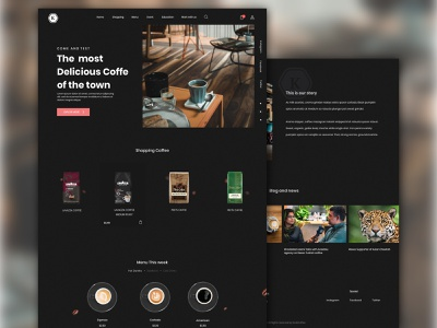 Cafe Shop Ui Design typography cafe uiux web app ux ui minimal sketch website design