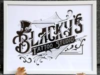 Blacky's Tattoo Studio Lettering