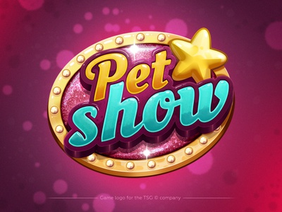 Pet Show - game logo tsg glow effect letters vector app pink glitter tensquaregames typography design star show pet mobile app branding photoshop cartoon logo game