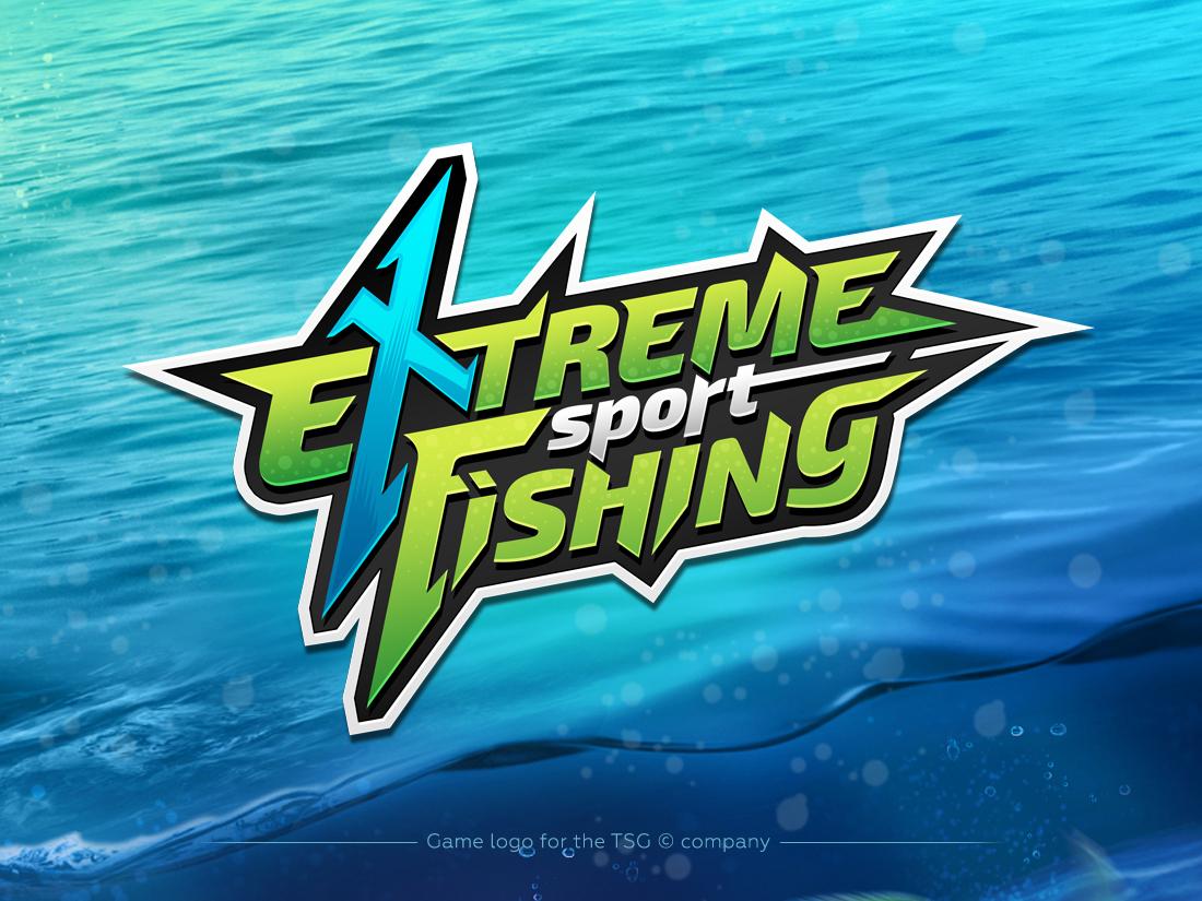 Extreme Sport Fishing - game logo app game mobile splash dynamic logo water color fishing fish extreme sport vector branding typography design photoshop logo