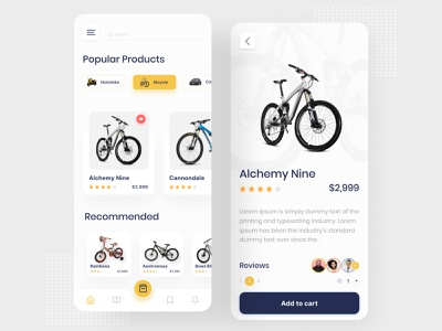 Bike store app dribble best shot best shot app mobile cart shopping app rental app ux design minimal bike store bike shop bike mobile app mobile ui ui