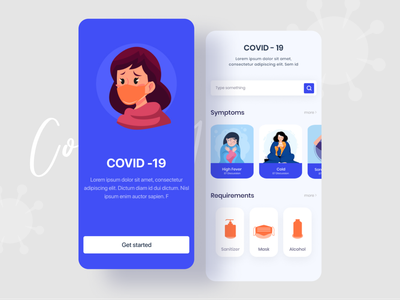 Covid-19 Application flat virus android app mobile health covid corona render home screen uiux mobile app design corona virus minimal ios app dribbble best shot coronavirus covid-19 corona renderer corona app design app