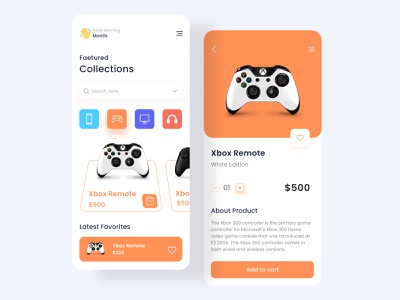 eCommerce App product page dribbble best shot figma ux ui color minimal shopping gamepad ecommerce shop concept app design app