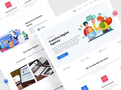 Carbets : Digital Agency Landing Page dribbble best shot popular shot creative digital agency creative agency agency color illustration minimal clean ux ui website design website landing page design agency web design agency landing page agency website 2020 trend