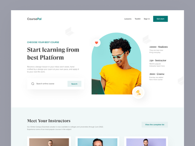 CoursePal e-Learning Header UI online learning course website onlile education learning platform learning management system learning education website landing page header e learning