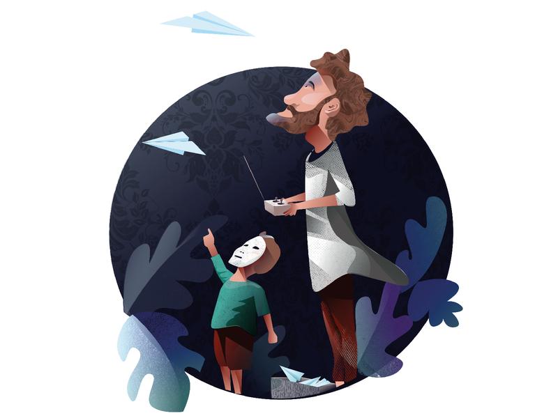 Scientist and his kid cartoon illustration art illustrations illustraion illustrator vector design vector illustration vector art vectorart vectors vector design digitalart adobeillustator illustration