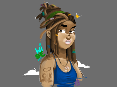 dreaded woman with love <3 love is love photoshop brush photoshop girl free flat dreads dreadlocks crown crown logo love heart typography sticker graffiti vector illustration graffiti digital graffiti art design