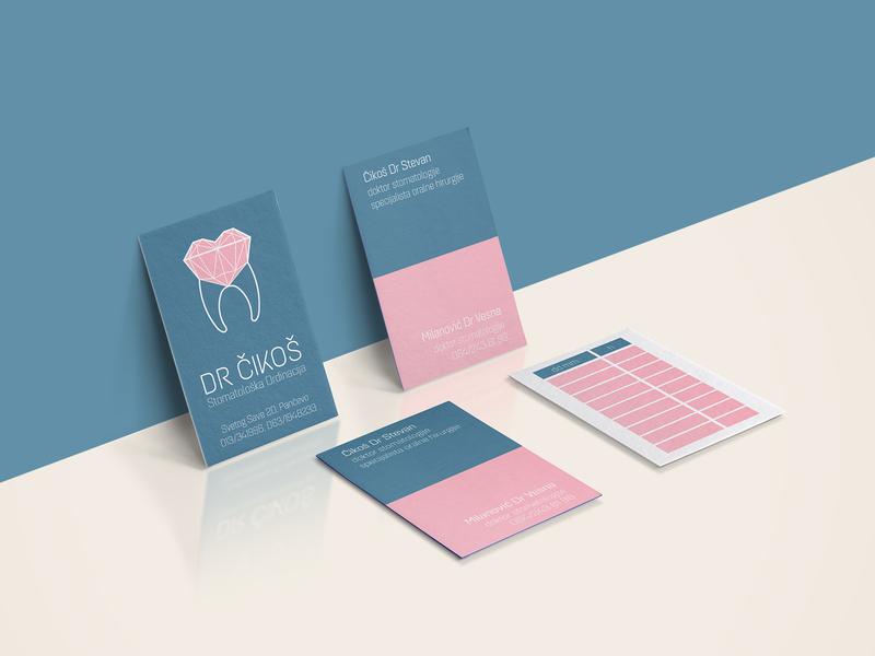 dr Cikos dental clinic business card & appointment reminder business card design business card visual  identity graphic  design design dental clinic branding dental adobe photoshop adobe illustrator