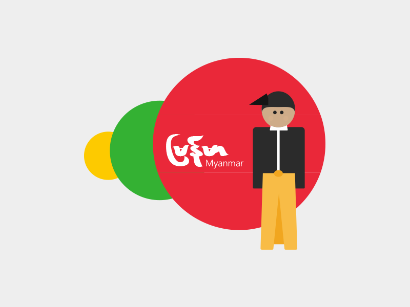 Myanmar Traditional Outfit illustration asian myanmar character vector