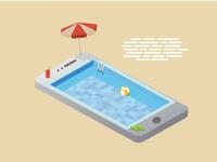 Smartphone Swimming Pool Vector