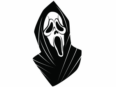 Scary mask scary death mask ghost monochrome drawing illustration vector