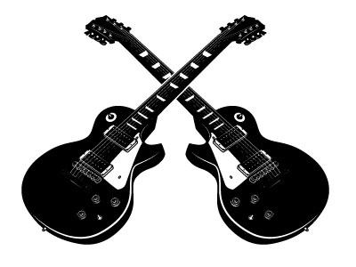 Electric Guitars music guitar monochrome drawing illustration vector