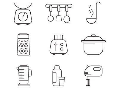Kitchen Vector Icons icons monochrome drawing illustration vector