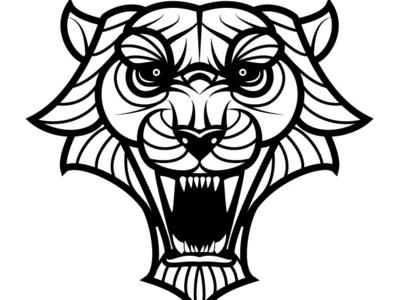 Tiger Vector Art logotype tiger animal monochrome drawing illustration vector