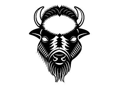 Buffalo vector image logotype bison buffalo animal monochrome drawing illustration vector