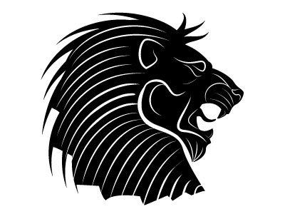 Lion head vector silhouette logotype lion animal monochrome drawing illustration vector