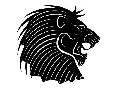 Lion head vector silhouette logotype lion animal monochrome drawing illustration vector