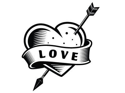 Love vector art pierced heart love monochrome drawing illustration vector
