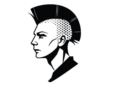 Punk face vector punk hairstyle people monochrome drawing illustration vector