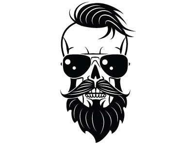 Hipster skull vector hipster skull people monochrome drawing illustration vector