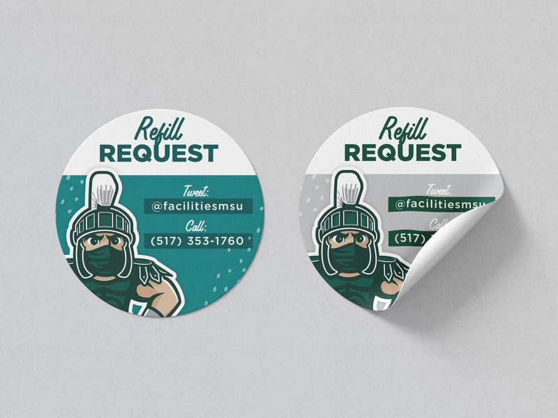 Refill Request Decal, MSU msu sticker decal badge design badge vector design branding