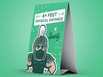 Sparty physical distancing table tent concept color typography illustrator covid msu sparty concept design
