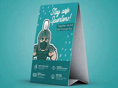 Sparty physical distancing and safety table tent concept illustrator illustration print layoutdesign design concept sparty msu