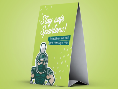Sparty physical distancing table tent concept michiganmade illustrator illustration graphic design concept safety sparty msu