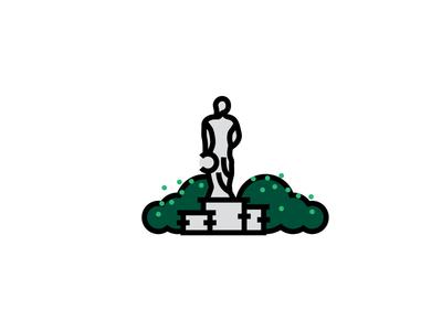 Sparty statue icons illustrator illustration iconography icon monoline spartanswill msu