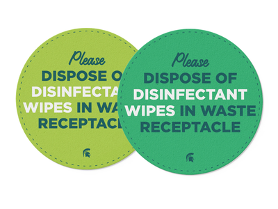 Disinfectant wipes typography text communications circle messaging branding sticker design stickers sticker decal safety msu