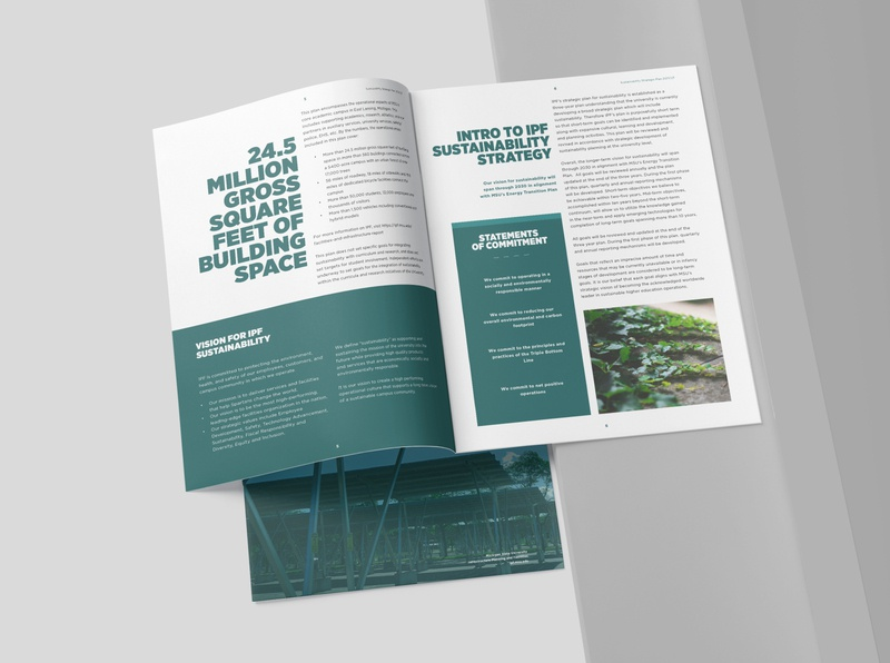 Sustainability report branding annual report layout layout design report colors msu