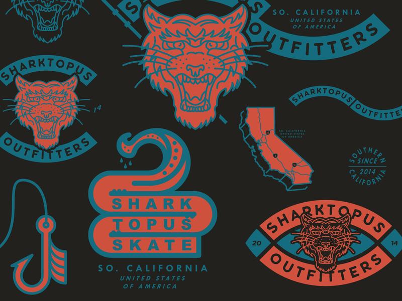 Sharktopus Outfitters logo icon color california illustrator illustration flash sheet flash vinyl decals stickers branding design design branding