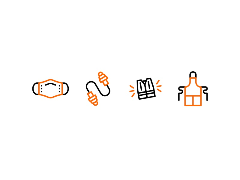 PPE Icon Set (1) colors color line art lineart monoline attire safety ppe iconset iconography icons illustrator