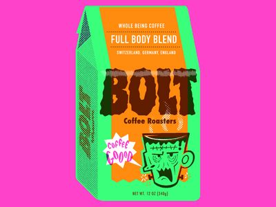 Bolt coffee logo lightning illustration procreate drawlloween branding coffee halloween frankenstein