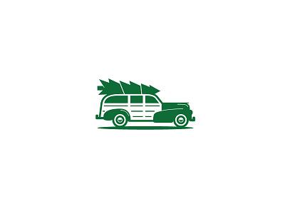 Woody Christmas Tree vintage car automobile logo stamp tree christmas woody