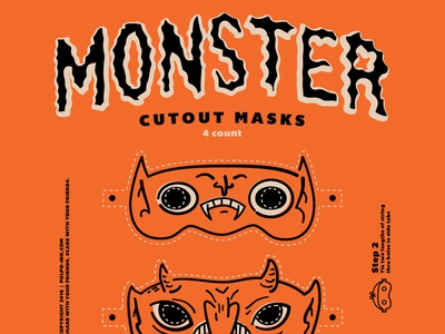 Masks monsters illustrations cutouts poster halloween masks