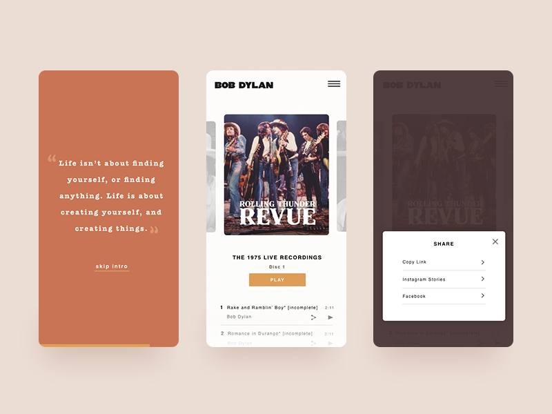 Bob Dylan Mobile Concept bob dylan share button interactiondesign interaction design music mobile design ux website design visual design