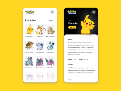 Pokédex pokemon mobile design visual design ux design website design