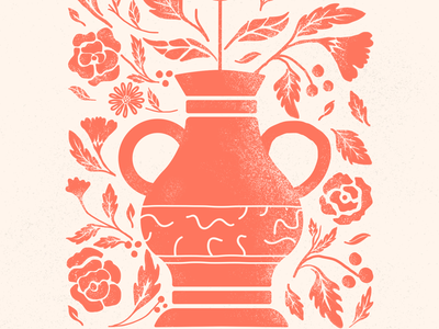 Oh hey dribbble floral two-tone texture illustration