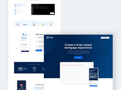 Mojo partner lander fintech dark theme website design product design landing page mockup api ui website