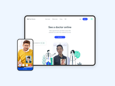 Push Doctor - new homepage clean ui ui design illustration video chat product design startup healthcare homepage ui