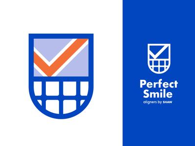 Perfect Smile logo crests perfect dental aligners medical branding shield teeth checkmark blue crest clear aligners aligner dentist smile dental
