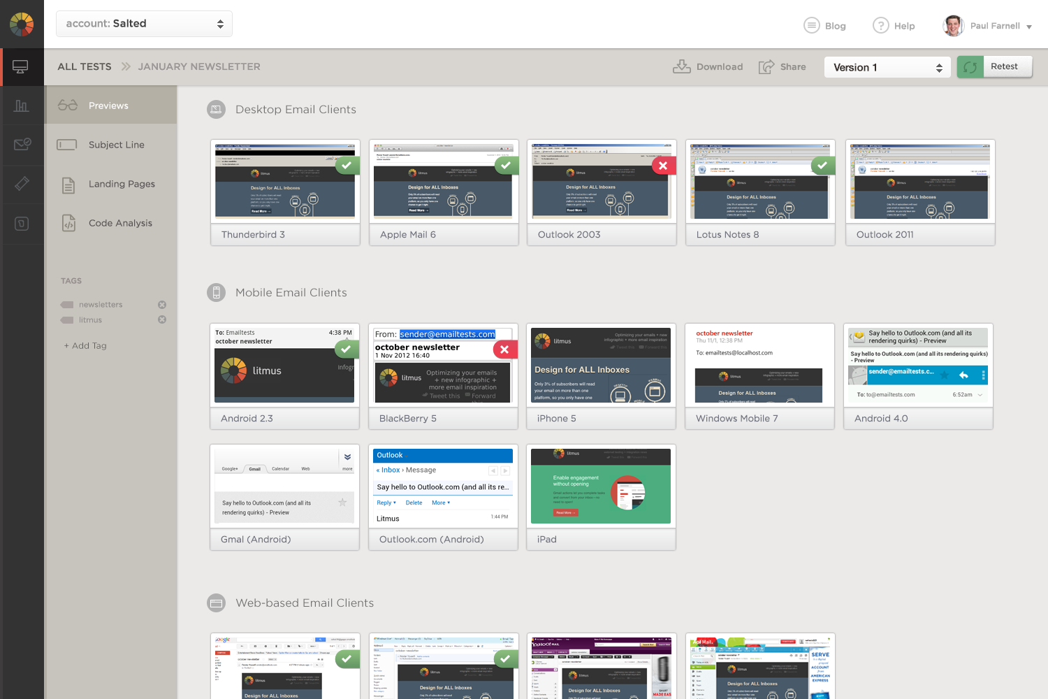 6 email preview thumbnails