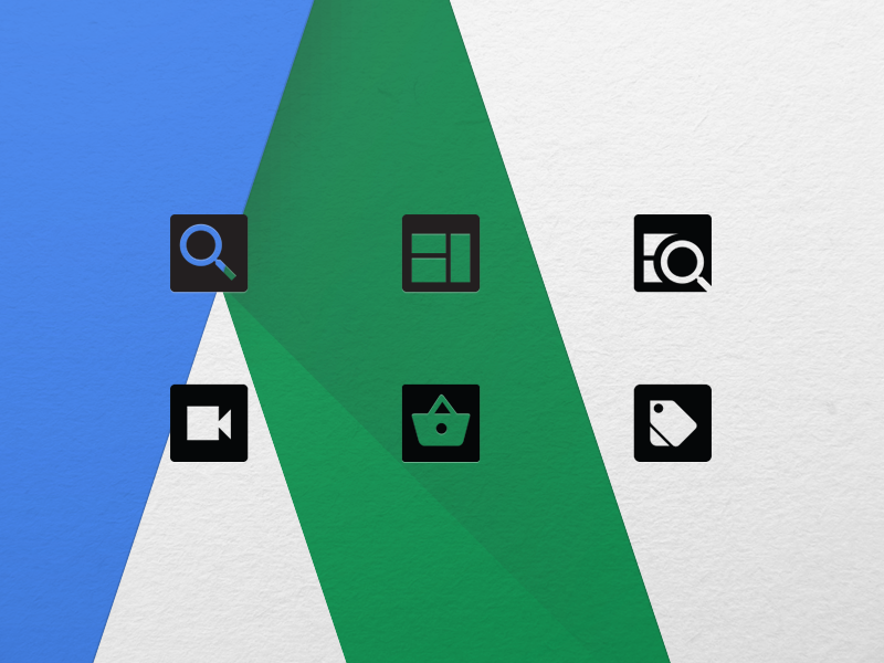 AdWords Campaign Icons adwords icons icon material design google ads campaigns search display shopping video