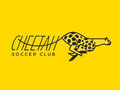 Cheetah Soccer clean simple silhouette running minimal lines speed branding logo animal soccer cheetah