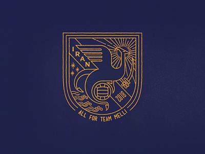 Phoenix badge soccer griffin crest lines retro badge persian world cup football simorgh phoenix iran